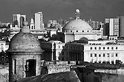 View of San Juan from Fort San Cristobal. Sentry box and Capitol building.
