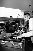 US hip hop DJ Cash Money and MC Marv performing for fans at Tower Records store, Piccadilly, London, UK, 1980's
