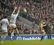 Twickenham. UK.   Oxford's,  Jon HUDSON kicking a second half conversion,  the 2013 Varsity Rugby Match,  Final score Oxford, defeating Cambridge,  33 - 15 on    Thursday  12/12/2013, at the RFU Stadium.  Surrey, England  [Mandatory Credit. Peter Spurrier/Intersport Images]