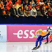 NLD/Heerenveen/20130112 - ISU Europees Kampioenschap Allround schaatsen 2013 dag 2, 3000 meter dames, Linda de Vries - Martina Sábliková
