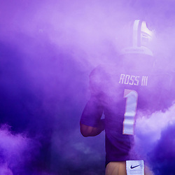 October 22, 2016: John Ross (1) runs through purple smoke before facing the Oregon State Beavers at Husky Stadium in Seattle, WA. (Christopher Mast/Icon Sportswire)
