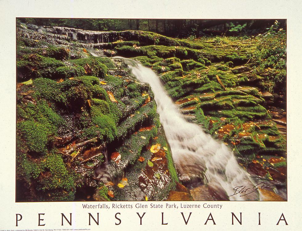 "Poster of Rickett's Glenn falls in Pennsylvania. White border with ""Pennsylvania"" written at bottom with space for framing."