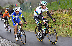 March 23, 2018 - Harelbeke, BELGIUM - Belgian Philippe Gilbert of Quick-Step Floors and Slovakian Peter Sagan of Bora-Hansgrohe pictured in action during the 61st edition of the 'E3 Prijs Vlaanderen Harelbeke' cycling race, 206,5 km from and to Harelbeke, Friday 23 March 2018. BELGA PHOTO POOL VINCENT KALUT (Credit Image: © Pool Vincent Kalut/Belga via ZUMA Press)
