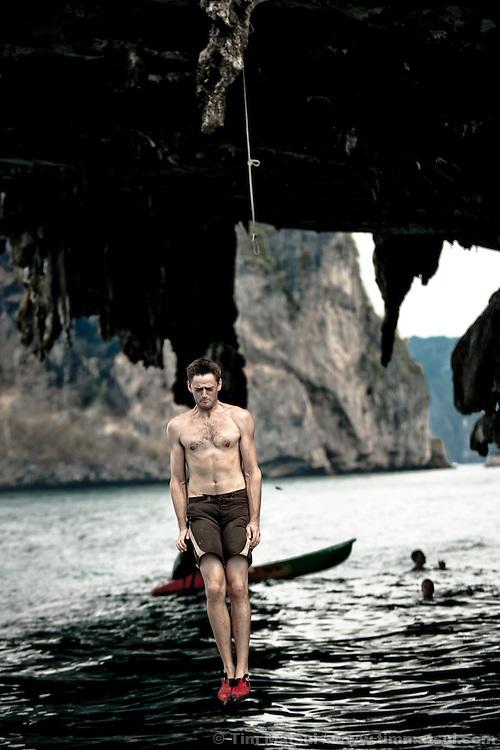 Deep water soloing near Tonsai, Thailand.
