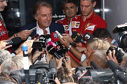 06.09.2014, Autodromo di Monza, Monza, ITA, FIA, Formel 1, Grand Prix von Italien, Qualifying, im Bild 06.09.2014, Autodromo di Monza, Monza, ITA, FIA, Formel 1, Grand Prix von Italien, Qualifying, im Bild Luca di Montezemolo (ITA) Ferrari President talks with the media // during the Qualifying of Italian Formula One Grand Prix at the Autodromo di Monza in Monza, Italy on 2014/09/06. EXPA Pictures © 2014, PhotoCredit: EXPA/ Sutton Images<br /> <br /> *****ATTENTION - for AUT, SLO, CRO, SRB, BIH, MAZ only*****