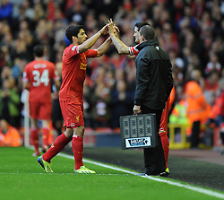 hat trick hero Liverpool's Luis Suarez is comes off for Liverpool's Luis Alberto- Photo mandatory by-line: Alex James/JMP - Tel: Mobile: 07966 386802 26/10/2013 - SPORT - FOOTBALL - Anfield Stadium - Liverpool - Liverpool v West Brom - Barclays Premier League