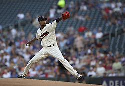 July 5, 2017 - Minneapolis, MN, USA - Minnesota Twins starting pitcher Ervin Santana throwing in the first inning against the Los Angeles Angels on Wednesday, July 5, 2017, at Target Field in Minneapolis. (Credit Image: © Jeff Wheeler/TNS via ZUMA Wire)