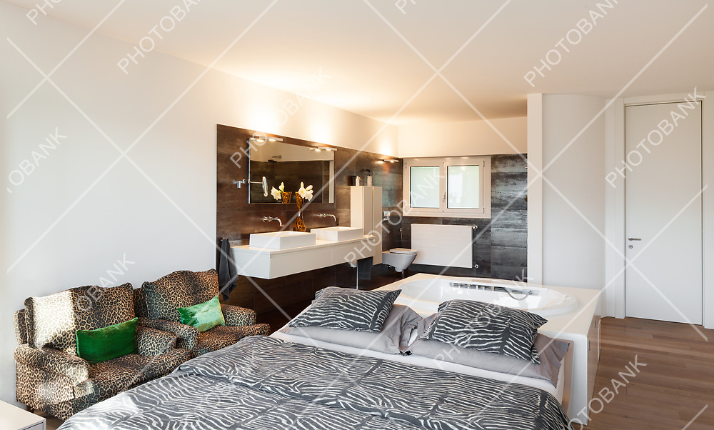 interiors of a modern house, bedroom