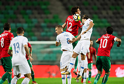 Bozhidar Kraev of Bulgaria vs Rene Krhin of Slovenia jump for a ball during football match between National Teams of Slovenia and Bulgaria in Final Tournament of UEFA Nations League 2019, on September 6, 2018 in SRC Stozice, Ljubljana, Slovenia. Photo by Morgan Kristan / Sportida