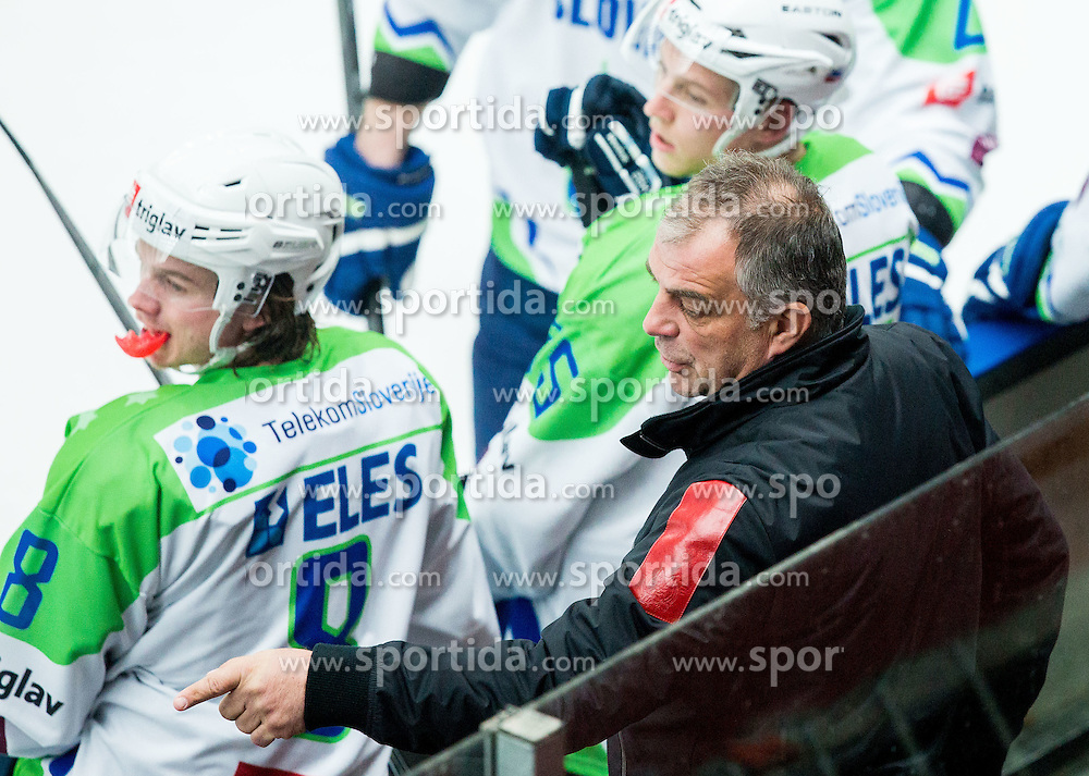 Ziga Jeglic and Matjaz Kopitar, head coach of Slovenia during ice-hockey friendly match between National teams of Slovenia and Japan, on April 10, 2015 in Arena Podmezakla, Jesenice, Slovenia. Photo by Vid Ponikvar / Sportida