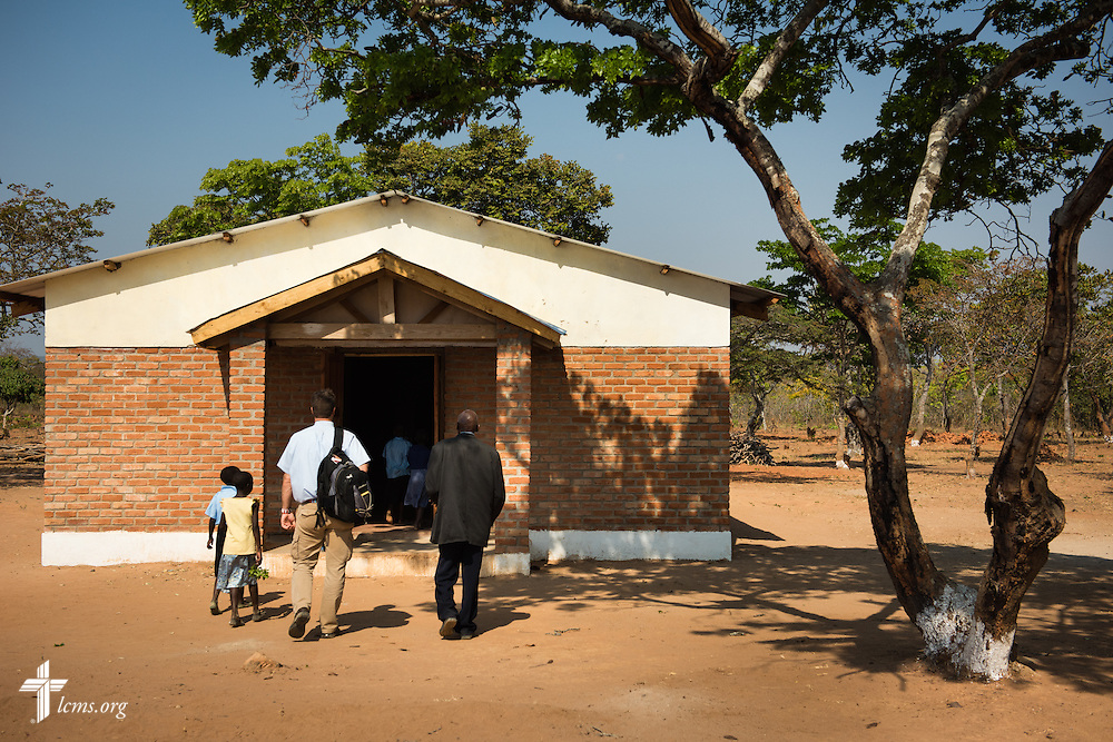 The Rev. Shauen Trump, LCMS area director for Eastern and Southern Africa, walks into a Confessional Lutheran Church–Malawi Synod parish on Saturday, Sept. 26, in Embangweni, Malawi. LCMS Communications/Erik M. Lunsford