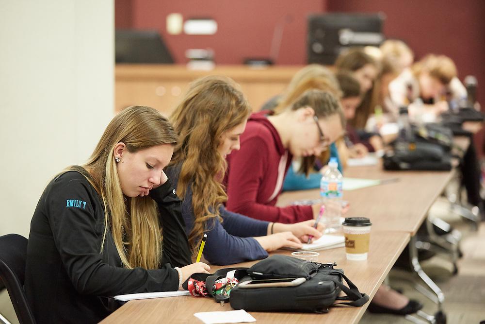 Activity; Collaboration; Buildings; Murphy Library; Location; Inside; Classroom; People; Professor; Student Students; Children; UWL UW-L UW-La Crosse University of Wisconsin-La Crosse; West Salem HIgh School Students