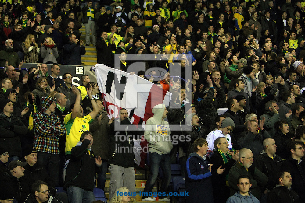 Leicester - Tuesday March 8th, 2011: The traveling Norwich fans get behind their team during the Npower Championship match at The Walkers Stadium, Leicester. (Pic by Paul Chesterton/Focus Images)