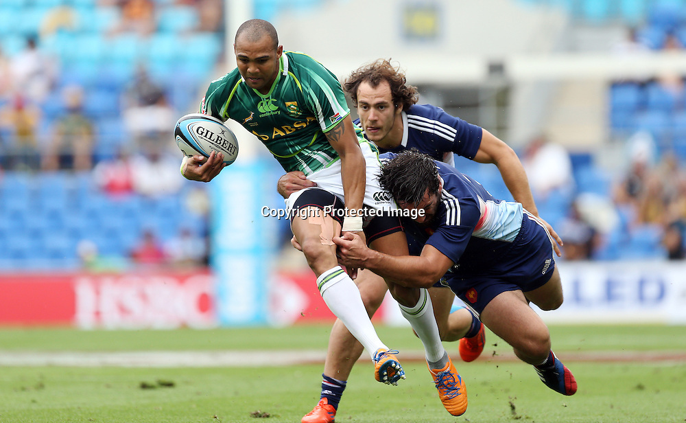 HSBC Sevens World Series - Gold Coast 2013  - Skilled Park , Gold Coast 12/10/13<br /> South Africa's Cornal Hendricks in action v France<br /> Photograph : Jason O'Brien / Photosport