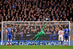 PSG Goalkeeper Salvatore Sirigu (ITA) stretches to reach a Chelsea free kick which goes over the bar - Photo mandatory by-line: Rogan Thomson/JMP - 07966 386802 - 08/04/2014 - SPORT - FOOTBALL - Stamford Bridge, London - Chelsea v Paris Saint-Germain - UEFA Champions League Quarter-Final Second Leg.