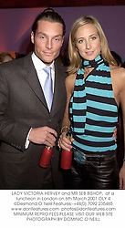 LADY VICTORIA HERVEY and MR SEB BISHOP,  at a luncheon in London on 6th March 2001.	OLY 4