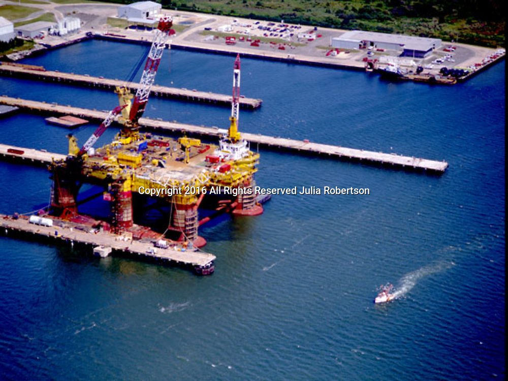 Aerial view of Oil Rig in Galveston Texas
