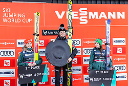 14.03.2019, Granasen, Trondheim, NOR, FIS Weltcup Skisprung, Raw Air, Trondheim, Einzelbewerb, Damen, Siegerehrung, im Bild Gesamtpodium 2. Platz Katharina Althaus (GER), Siegerin Maren Lundby (NOR), 3. Platz Juliane Seyfarth (GER) // Overall Podium 2nd placed Katharina Althaus of Germany Winner Maren Lundby of Norway 3rd placed Juliane Seyfarth of Germany during the winner cermony for the ladie's individual competition of the 3rd Stage of the Raw Air Series of FIS Ski Jumping World Cup at the Granasen in Trondheim, Norway on 2019/03/14. EXPA Pictures © 2019, PhotoCredit: EXPA/ JFK