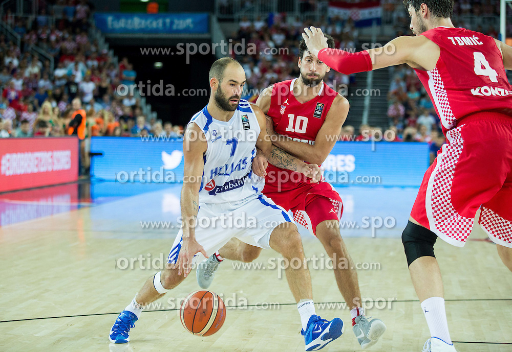 Vassilis Spanoulis of Greece vs Roko Leni Ukic of Croatia during basketball match between Greece and Croatia at Day 2 in Group C of FIBA Europe Eurobasket 2015, on September 6, 2015, in Arena Zagreb, Croatia. Photo by Vid Ponikvar / Sportida