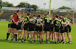 Mayo team huddle before the match against Fermanagh.<br />