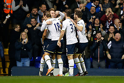 Christian Eriksen is hugged by Harry Kane of Tottenham Hotspur as he celebrates scoring a goal to make it 1-1 - Photo mandatory by-line: Rogan Thomson/JMP - 07966 386802 - 30/11/2014 - SPORT - FOOTBALL - London, England - White Hart Lane - Tottenham Hotspur v Everton - Barclays Premier League.