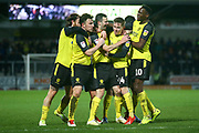 Jamie Murphy of Burton Albion (29) shoots and scores a goal  and celebratesduring the EFL Sky Bet League 1 match between Burton Albion and Oxford United at the Pirelli Stadium, Burton upon Trent, England on 11 February 2020.