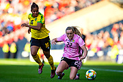 Erin Cuthbert (#22) of Scotland is fouled by Dominique Bond-Flasza (#16) of Jamaica during the International Friendly match between Scotland Women and Jamaica Women at Hampden Park, Glasgow, United Kingdom on 28 May 2019.