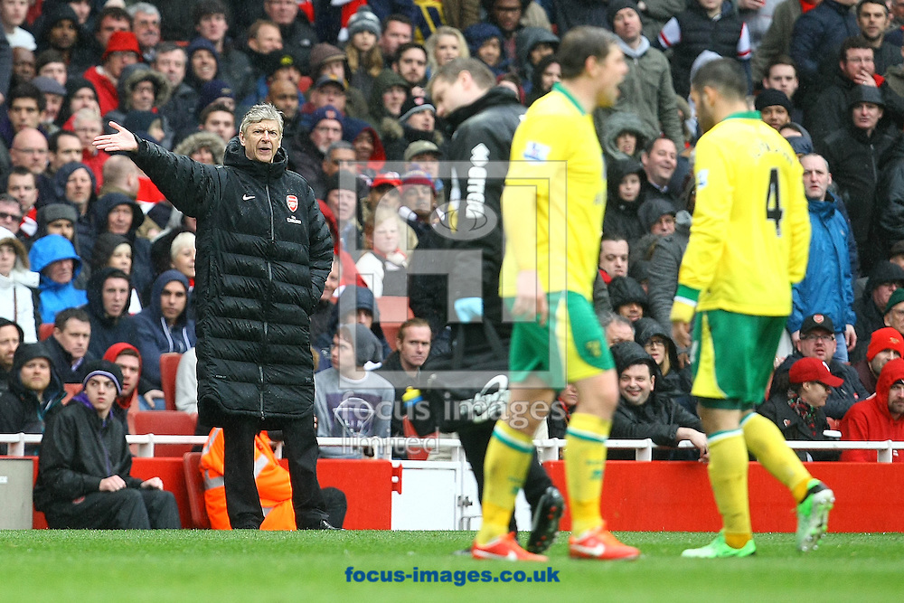 Picture by Paul Chesterton/Focus Images Ltd +44 7904 640267.13/04/2013.Arsenal Manager Arsene Wenger is not happy about the amount of time its taking Bradley Johnson of Norwich to leave the pitch during the Barclays Premier League match at the Emirates Stadium, London.