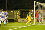 Cheltenham Town's Easah Suliman scores an own goal 2-1 during the Gloucestershire Senior Cup match between Forest Green Rovers and Cheltenham Town at the New Lawn, Forest Green, United Kingdom on 20 September 2016. Photo by Shane Healey.