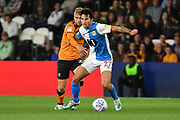 Blackburn Rovers player Lewis Travis (27) and Hull City player Jarrod Bowen (20)during the EFL Sky Bet Championship match between Hull City and Blackburn Rovers at the KCOM Stadium, Kingston upon Hull, England on 20 August 2019.