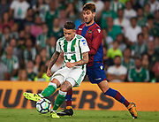 SEVILLE, SPAIN - SEPTEMBER 25: Arnaldo Antonio Sanabria of Real Betis Balompie (L)  competes being followed by Jose Campana of Levante UD (R)  during the La Liga match between Real Betis and Levante at Estadio Benito Villamarin on September 25, 2017 in Seville, .  (Photo by Aitor Alcalde Colomer/Getty Images)