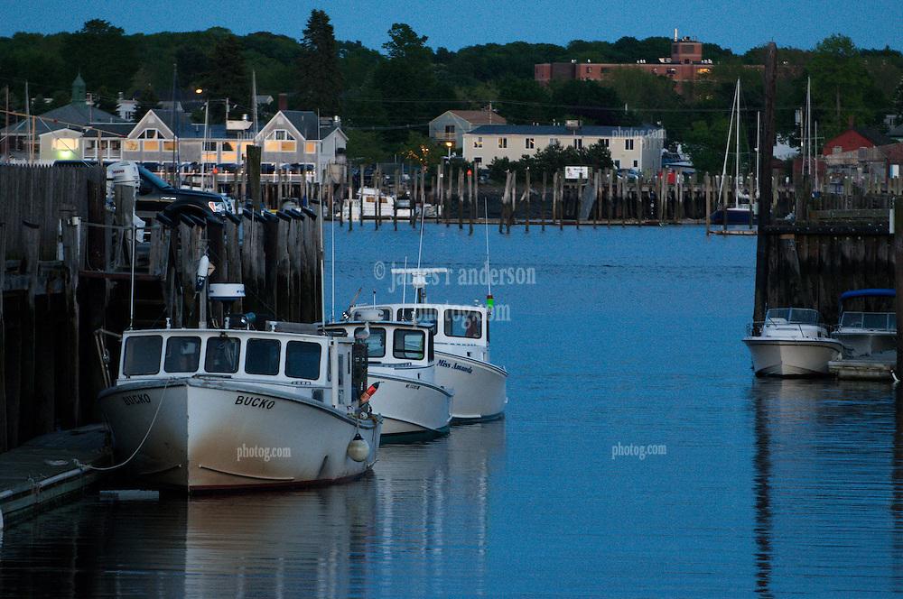 Portland Maine Waterfront at Dusk. Portland Pier, Fishing Vessels, Harbor & South Portland. June 2011