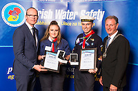 Dublin - Ireland, Tuesday 8th November 2016:<br /> Simon Coveney TD, Minister for Housing, Planning & Local Government with 'Seiko Just In Time Award' recipients Mollie Tamara Power (Dublin) and Sean Thompson (Wexford) and Martin O'Sullivan, Chairman of Irish Water Safety at the annual Irish Water Safety Awards held at Dublin Castle.  Photograph: David Branigan/Oceansport