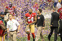 3 February 2013: Linebacker (54) Larry Grant of the San Francisco 49ers walks off the field through confetti after the Baltimore Ravens 34-31 victory over the 49ers in Superbowl XLVII at the Mercedes-Benz Superdome in New Orleans, LA.