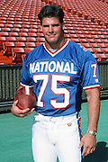 The National Football Conference Minnesota Vikings defensive tackle Keith Millard (75) poses for a photo during photo day the week before the 1989 NFL Pro Bowl football game against the American Football Conference on Jan. 24, 1989 in Honolulu. The NFC won the game 34-3. (©Paul Anthony Spinelli)