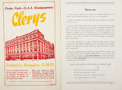 All Ireland Senior Hurling Championship Final, .Brochures, .23.09.1956, 09.23.1956, 23rd September 1956,.Wexford 2-14, Cork 2-8,.Minor Kilkenny v Tipperary, .Senior Cork v Wexford,.Croke Park,..Advertisements, Clerys Ireland's Shopping GHQ,..Articles, Duit-Se,