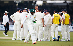 Pakistan's Imam ul-Haq walks off out for 4 during day one of the First NatWest Test Series match at Lord's, London.