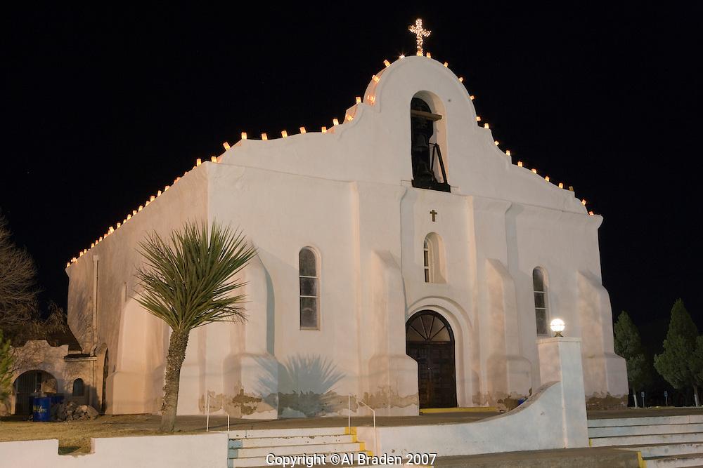 San Elizario Mission with luminarias on Chirstmas Eve, San Elezario near El Paso, Texas.