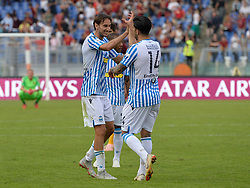 October 20, 2018 - Rome, Lazio, Italy - Simone Missiroli and Kevin Bonifazi during the Italian Serie A football match between A.S. Roma and Spal at the Olympic Stadium in Rome, on october 20, 2018. (Credit Image: © Silvia Lore/NurPhoto via ZUMA Press)