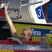 Britta Steffen of Germany  winning the Women's 50m Freestyle with Cate Campbell of Australia (right) at the World Swimming Championships in Rome, Italy on Sunday, August 2, 2009. Photo Tim Clayton.