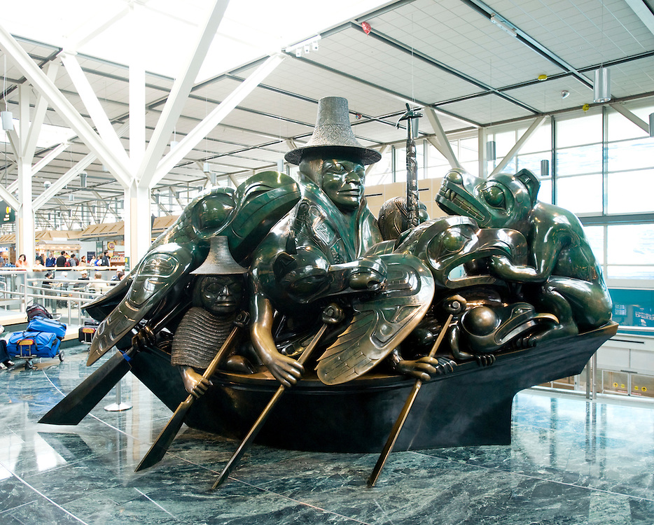The Bill Reid sculpture, The Spirit of Haida Gwaii, at the Vancouver International Airport.  Vancouver BC, Canada.