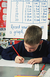 Primary school boy sitting at desk in classroom writing,