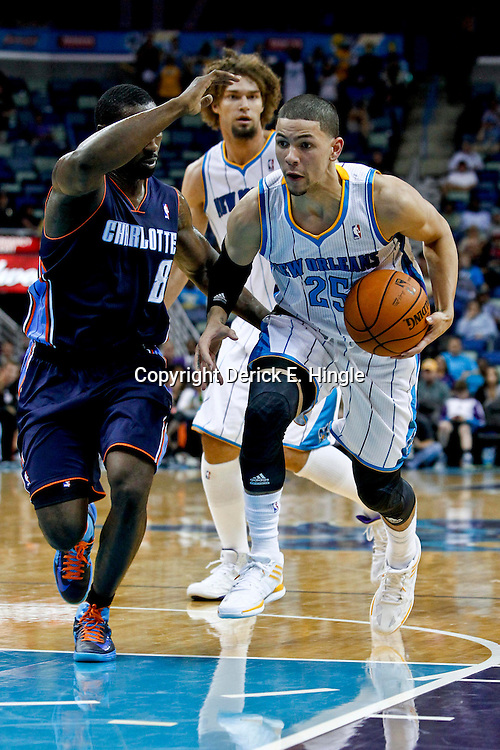 October 9, 2012; New Orleans, LA, USA; New Orleans Hornets guard Austin Rivers (25) drives past Charlotte Bobcats guard Ben Gordon (8) during the second quarter of a game at the New Orleans Arena.   Mandatory Credit: Derick E. Hingle-US PRESSWIRE