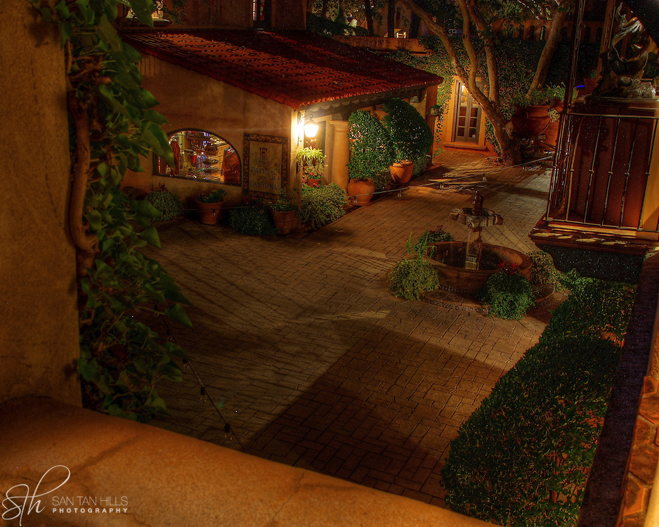 The view into a courtyard from a Tlaquepaque balcony, Sedona,AZ