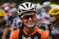 Lizzie Armistead (GBR) on the start line at The Pro Women's Grand Prix race at Prudential RideLondon, the world's greatest festival of cycling, involving 70,000+ cyclists – from Olympic champions to a free family fun ride - riding in five events over closed roads in London and Surrey over the weekend of 9th and 10th August. <br />