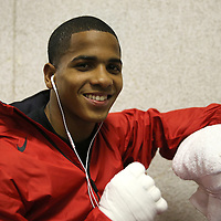 Felix Verdejo smiles in his locker room as he prepares for a fight at the Bahia Shriners Center on Saturday, April 19, 2014 in Orlando, Florida.  (AP Photo/Alex Menendez)