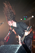 Israel, Tel Aviv, guitarist with hair flying in the air, during a Heavy Metal rock performance