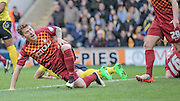 Billy Clarke (Bradford) thinks he has scored the first goal of the game, but it is ruled out for the earlier foul during the The FA Cup match between Bradford City and Chesham FC at the Coral Windows Stadium, Bradford, England on 6 December 2015. Photo by Mark P Doherty.