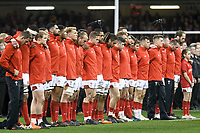Rugby Union - 2017 Under Armour Series (Autumn Internationals) - Wales vs. Australia<br /> <br /> Wales line up for a minute's silence for armistice day , at The Principality Stadium (Millennium Stadium).<br /> <br /> COLORSPORT/WINSTON BYNORTH