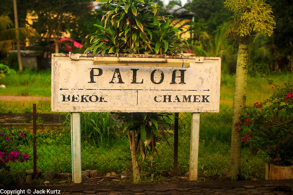 20 DECEMBER 2012 - PALOH, MALAYSIA: A sign for the town of Paloh, a stop on the Kuala Lumpur to Singapore railway line.   PHOTO BY JACK KURTZ